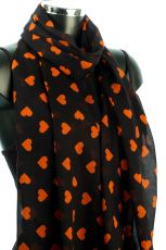 Cotton Heart Print Scarf
