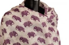 Elephant Design Scarf Cotton Pashmina