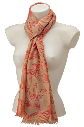 Flower drawing scarf: Almond