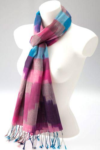 Ikat Weave Scarf: Cerise