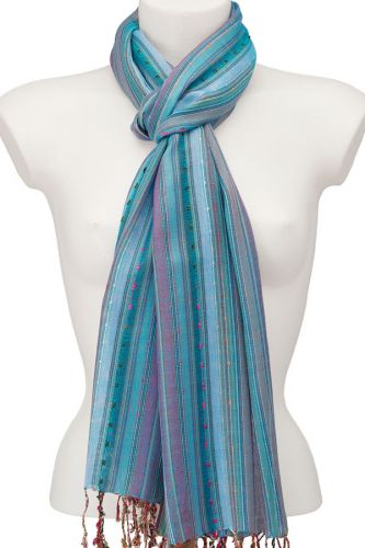 Striped Scarf For Ladies: Marine