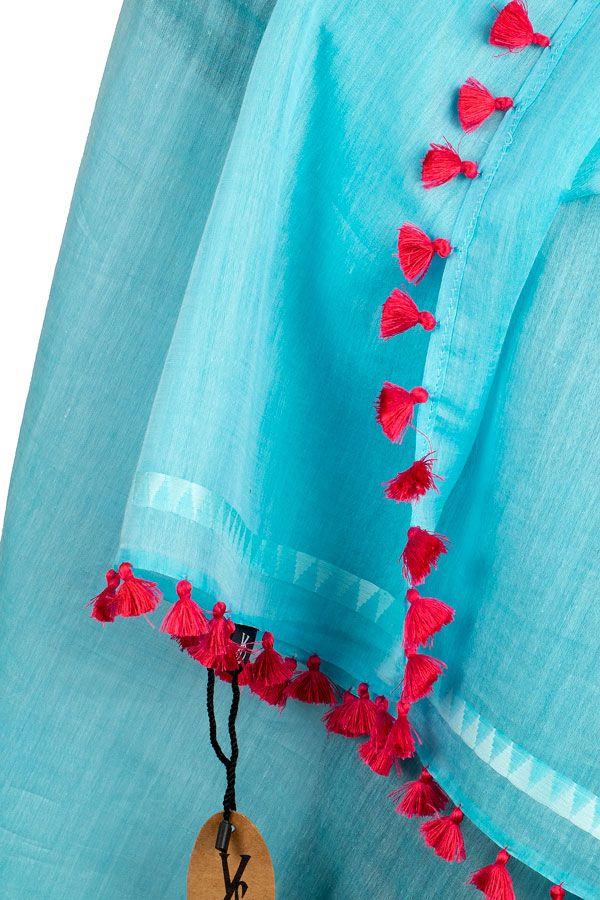 Silk Stole Fair Trade Silk Scarf Wrap Pom Pom Fringe